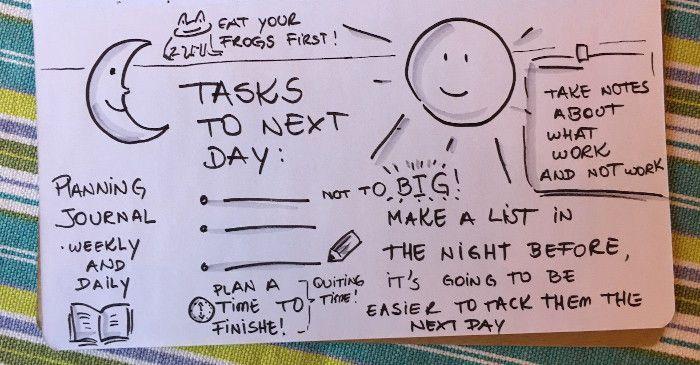 Vários desenhos mostrando hábitos positivos que ajudam a evitar a procrastinação.
