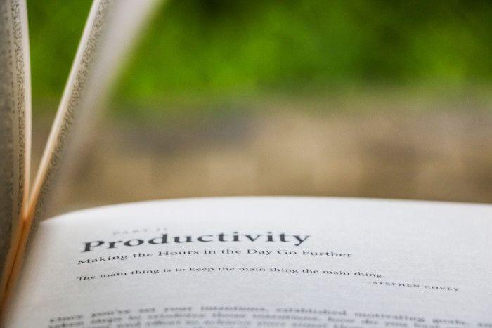 """Página de livro com título """"Productivity"""" com o resto da imagem desfocada."""