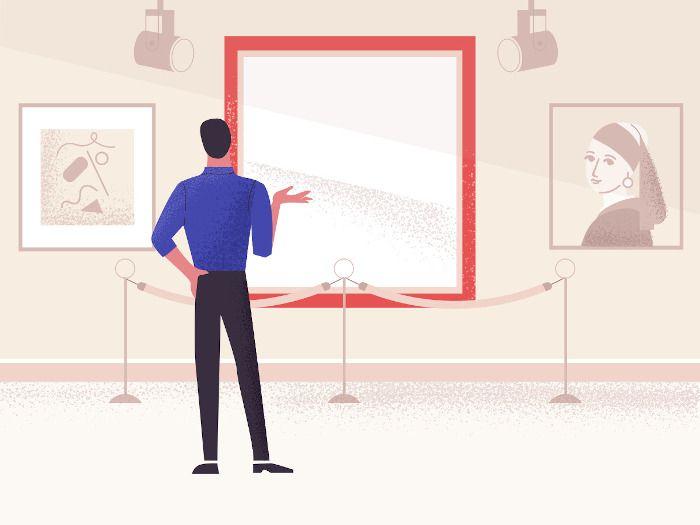 Homem parado em frente a uma moldura vazia, imitando uma exposição.