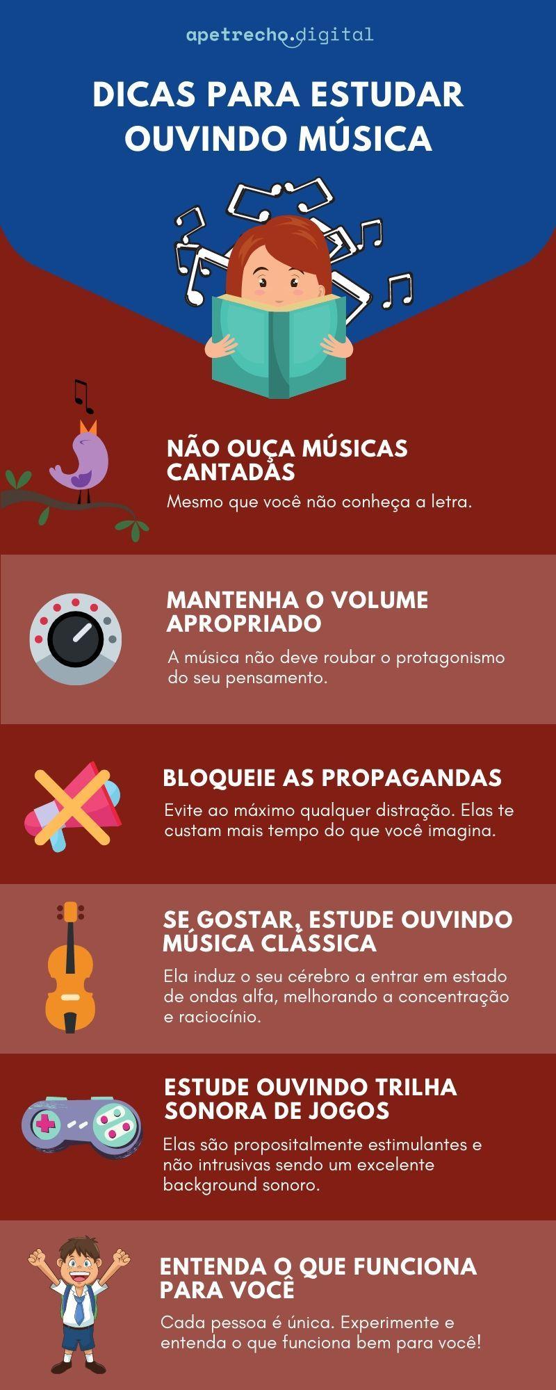Infográfico com dicas para estudar ouvindo música.