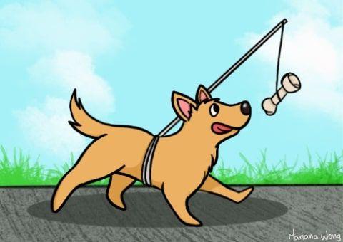 Ilustração de um cachorro marrom correndo atrás de um osso que está amarrado em suas costas por uma vara