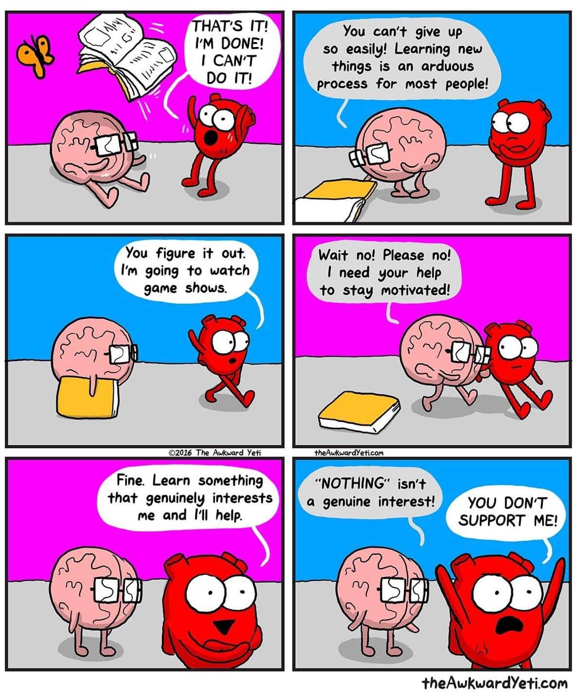 Quadrinho com o cérebro e o coração conversando assinado por The Awkward Yeti