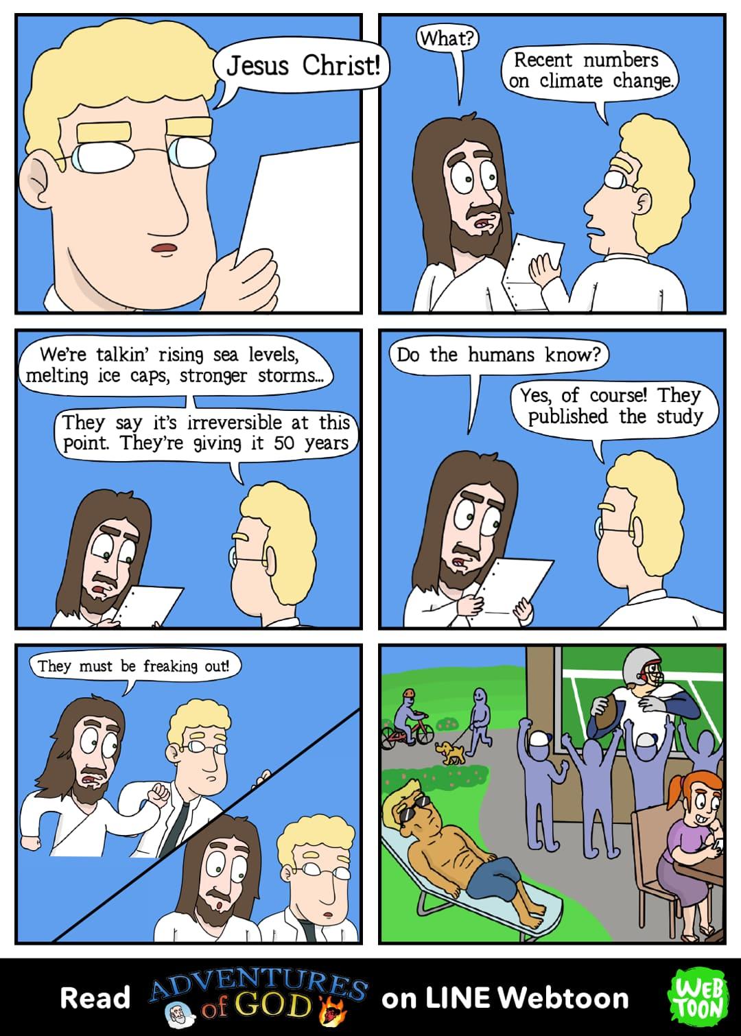 Quadrinho de humor contando as aventuras de Deus