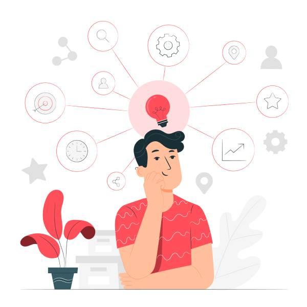 Ilustração de um homem vestindo camiseta vermelha com uma mão no queixo pensando enquanto há vários desenhos sobre sua cabeça como relógios, ferramentas, estrelas, etc.