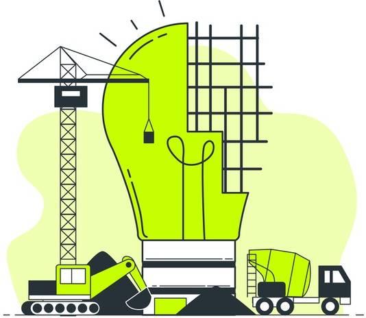 Ilustração de uma lâmpada sendo construída como se fosse um prédio - Aprender coisas novas