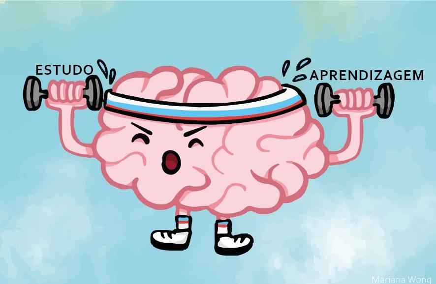 Ilustração de um cérebro malhando