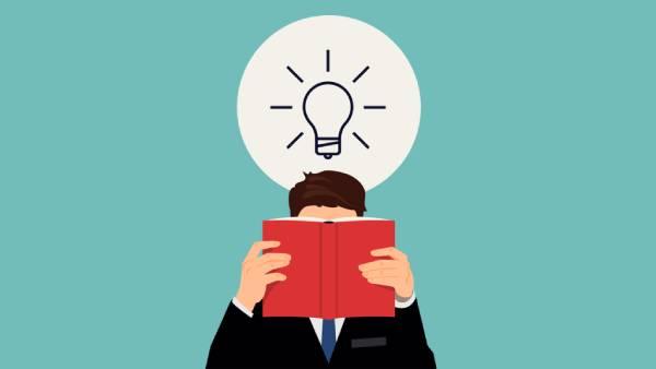 Ilustração de uma pessoa lendo um livro com uma lâmpada acesa sobre sua cabeça representando a aprendizagem autodirigida