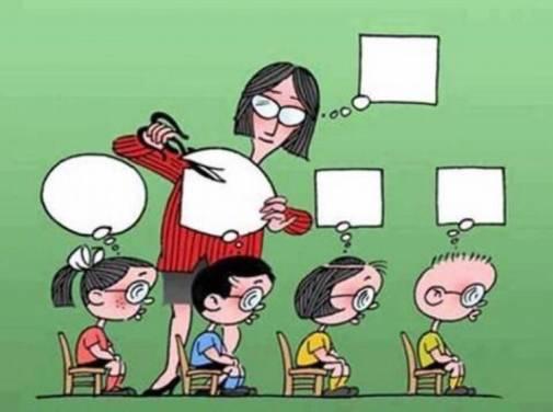 Charge em que a professora corta o balão de pensamento dos alunos para ficarem quadrados iguais ao dela.