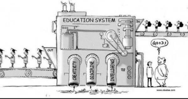 """Tirinha representando uma máquina onde os alunos entram e saem formados e é sugada a criatividade, inteligência e disciplina. Um empresário observa a máquina e diz: """"Bom!"""""""