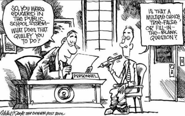 Charge satirizando que quem sai da escola só sabe fazer prova