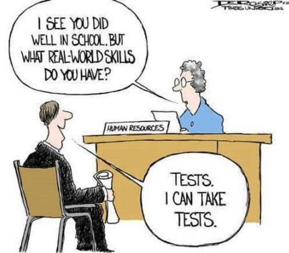 Charge onde a entrevistadora pergunta quais são as habilidades que o entrevistado tem e ele responde que sabe fazer testes