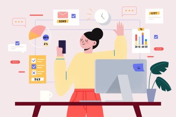 Ilustração de uma mulher feliz em frente à uma parede com relógios, calendários e gráficos